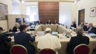 Pope Francis at Vatican bank council meeting