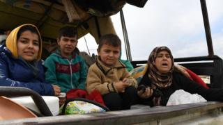 Civilians leave the Syrian city of Afrin, 15 March