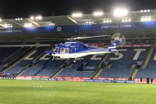 Helicopter landing on the Leicester City pitch after the game, Saturday 27 Oct 2018