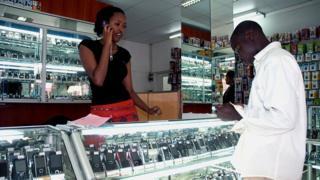 Rimwe mu maduka ya telefone zigendanwa yo mu mujyi wa Kigali