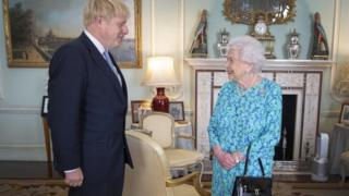 Boris Johnson pictured with the Queen on 24 July at Buckingham Palace where she invited him to become Prime Minister.