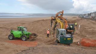 sand dunes being created at Swansea beach