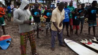 surfers at an international competition in Ghana
