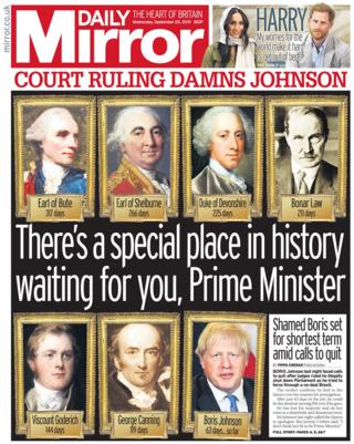 Daily Mirror front page 25/09/19