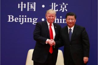 A picture released by Xinhua News Agency shows US President Donald J. Trump (L) and his Chinese counterpart Xi Jinping (R) shaking hands at the US-China Business Exchange event at the Great Hall of the People in Beijing, China, 9 November 2017.