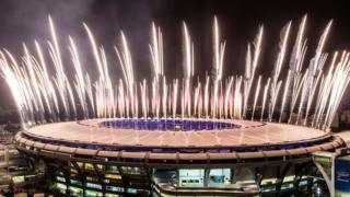 Fireworks at the Maracana Stadium in Rio