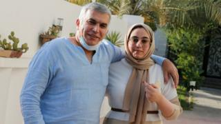 Bahraini prominent human rights activist Nabeel Rajab and his daughter pose for a photo