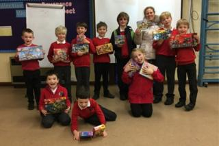 All Saints Primary School children with Lego