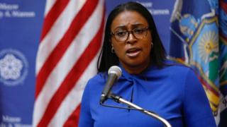 Mayor Lovely Warren speaking at a press conference in Rochester, New York