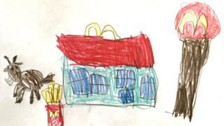 Northern Ireland Drawing of a goat at McDonalds