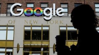 The Google logo adorns the outside of their NYC office
