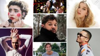 Eurovision contestants (clockwise from top left) Montaigne, Ulrikke Brandstorp, Arilena Ara, Benny Cristo, Tom Leeb, The Roop and (centre) James Newman
