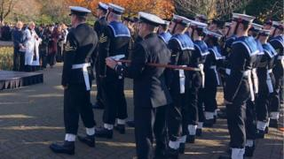 Armed forces personnel attend the national service in Cardiff