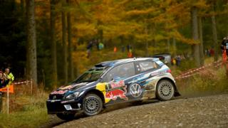 Sebastien Ogier of France and Julien Ingrassia of France compete in their Volkswagen Motorport WRT Volkswagen Polo R WRC during Day Three of the WRC Great Britain on October 30, 2016 in Deeside