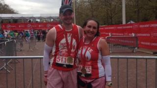 Ben Ashworth and his wife Louise at the finish line
