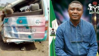 Aworan ọkọ ẹgbẹ oṣelu PDP Oyo ati ọmọ ẹgbẹ to d'oloogbe