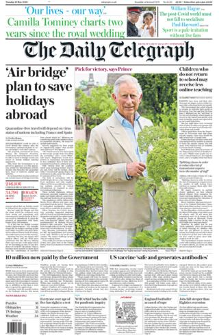 The Daily Telegraph front page 19/05/20