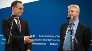German Justice Minister Heiko Maas (left) with Richard Allen, Facebook's public policy manager in Europe