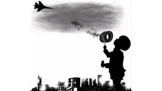 A drawing of a child holding a burning tyre like a lollipop with smoke wafting upwards towards a bomber plane