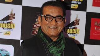 Indian Bollywood play back singer Abhijeet Bhattacharya attends the 'Mirchi Music Awards 2015' ceremony in Mumbai on February 26, 2015.