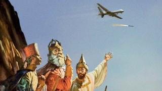 The Three Wise Men point to a drone