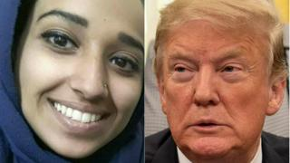 Composite image of Hoda Muthana and Donald Trump
