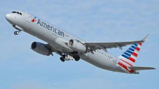 Airbus A321-200 departing Los Angeles International Airport.
