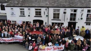 The Corn Exchange protest in Crickhowell