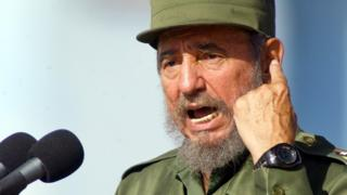 Cuban President Fidel Castro gestures during a speech Monday June 21,2004