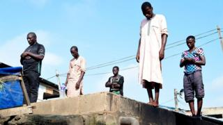 Worshippers gather to perform a prayer to celebrate Eid al-Fitr in Kara Ibafo in Ogun State, on May 24, 2020.