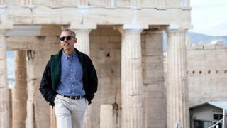 Obama en la Acrópolis de Atenas