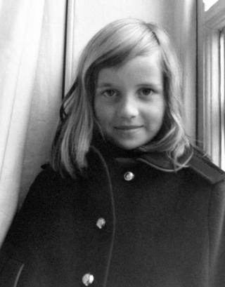 Lady Diana Spencer wearing a winter coat in London, aged 7.