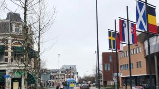 Saltire flying in Leeuwarden