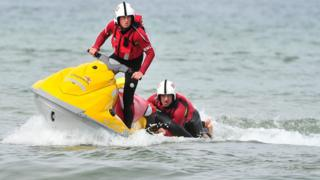 RNLI jet ski in action, file pic