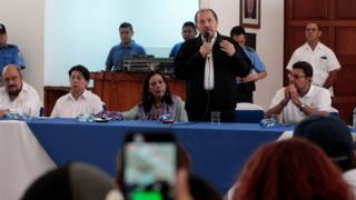 Nicaraguan President Daniel Ortega with Vice-President Rosario Murillo attend first round of dialogue in Managua, Nicaragua May 16, 2018.