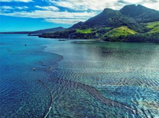 A drone image shows the oil spillage near the area where the bulk carrier ship MV Wakashio, belonging to a Japanese company but Panamanian-flagged, ran aground on a reef, at Riviere des Creoles, Mauritius.