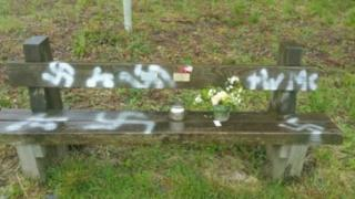 Swastikas on D-Day veterans' bench