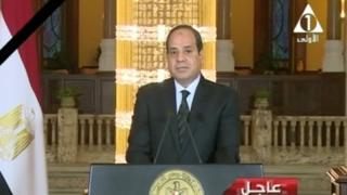 """埃及總統塞西發表電視講話說,""""武裝部隊和警察將為我們的烈士復仇""""。"""