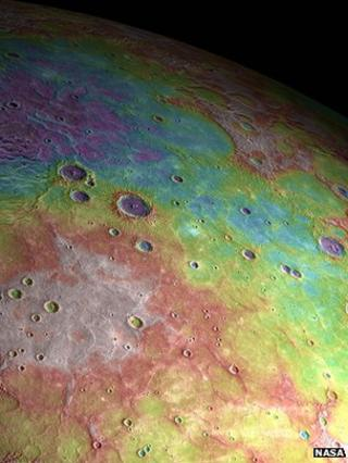 Mercury's northern plains (Nasa). False colour elevation information - white is high; blue is low
