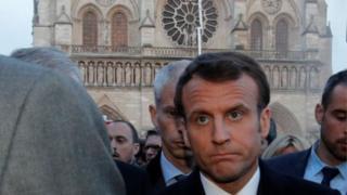 Macron y Notre Dame