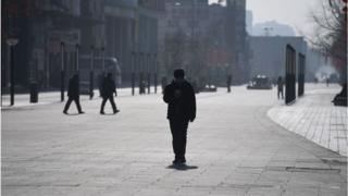 A nearly empty main shopping district in China's capital Beijing