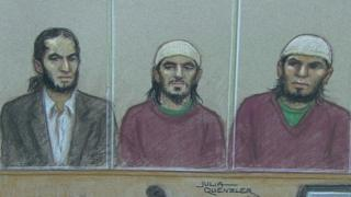 Court drawing / courtroom sketch: Haseeb Hamayoon, Nadir Syed, Yousef Sayed at Woolwich Crown Court