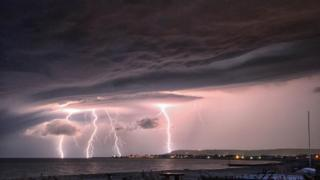 Thunderstorm in Pevensey Bay, East Sussex