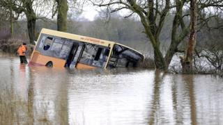 Bus trapped in flood water north of York