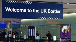 UK border sign in an airport