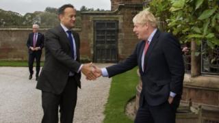 Irish Taoiseach (Prime Minister) Leo Varadkar (left) and UK Prime Minister Boris Johnson in Liverpool. Photo: 10 October 2019