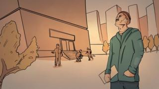 Рисунок - мужчина перед зданием