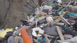 Plastics and other rubbish on beach