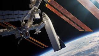Ilustração do BFR atracado na Estação Espacial Internacional