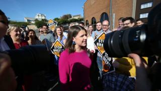 Jo Swinson surrounded by party members at the start of the Lib Dem conference in Bournemouth on 14 September 2019